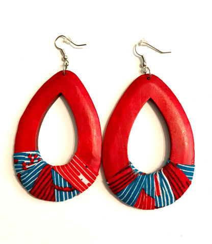 Red Oval Kwacha Earrings