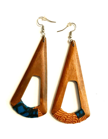 Brown Fan-Shaped Kwacha Earrings