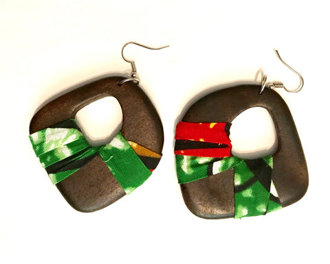 Green + Red Asymmetrical Kwacha Earrings