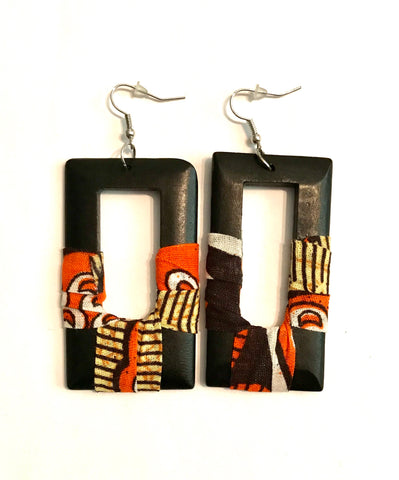 Orange Square Kwacha Earrings