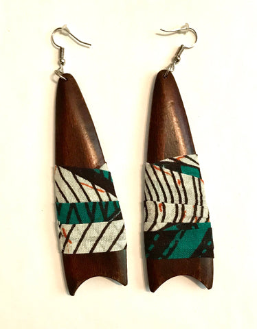 Teal Cut-Tip Tear Shaped Kwacha Earrings
