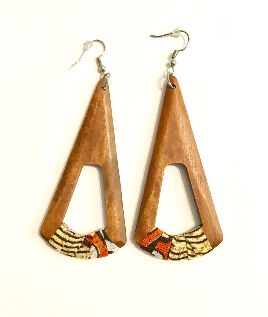 Orange Fan-Shaped Kwacha Earrings