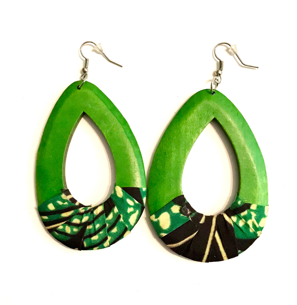Green Oval Kwacha Earrings
