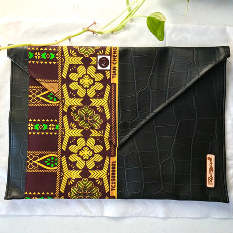 Brown + Yellow Envelope Pouch (Kwacha Collection)