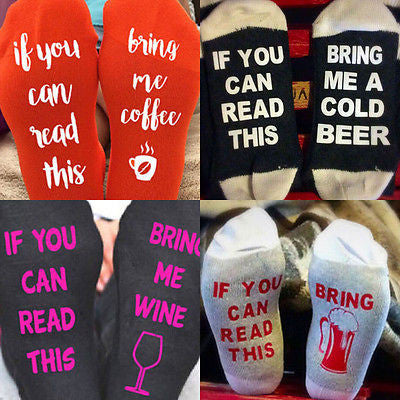 If You Can Read This Bring Me Wine/Coffee/Beer Socks