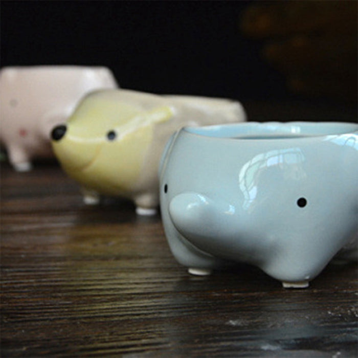 Little animal ceramic flowerpot