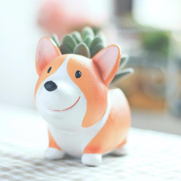 Mini Corgi Green/Flower pot