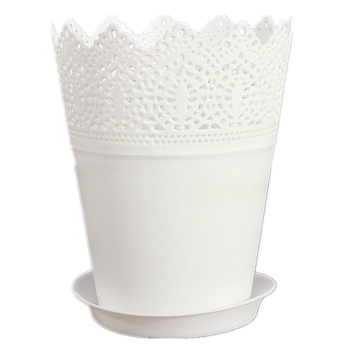 FJS!Crown Lace Flower Plant Pot Planter Holder Decor White