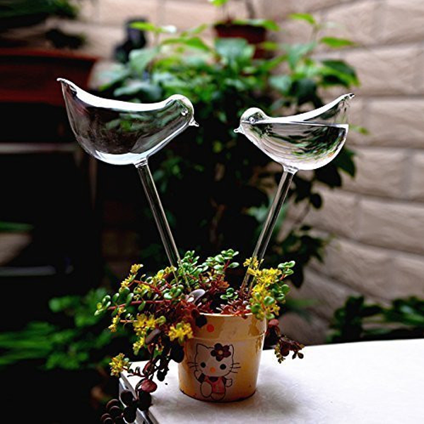 2pc Self-Watering Glass Birds
