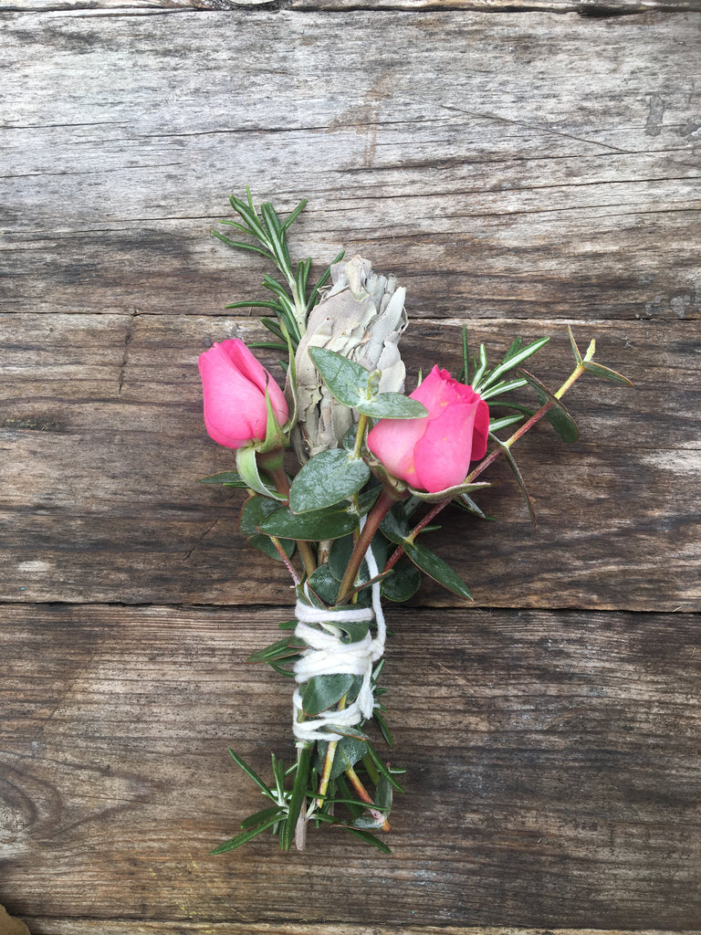 White Sage Floral Smudge Sticks