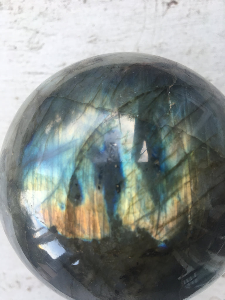 Extra large Polished Labradorite Sphere, Protective and Healing Crystal Ball, Weighs 2.6 Pounds