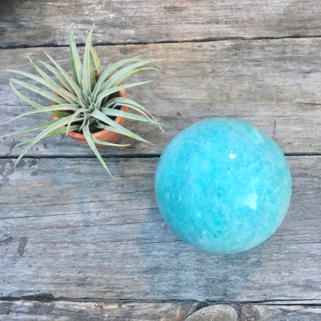 Green Amonzanite Crystal Sphere Ball, Healing Crystal