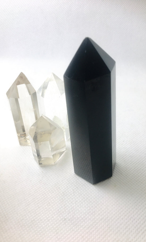 Polished Black Obsidian Point, Black Obsidian Tower,