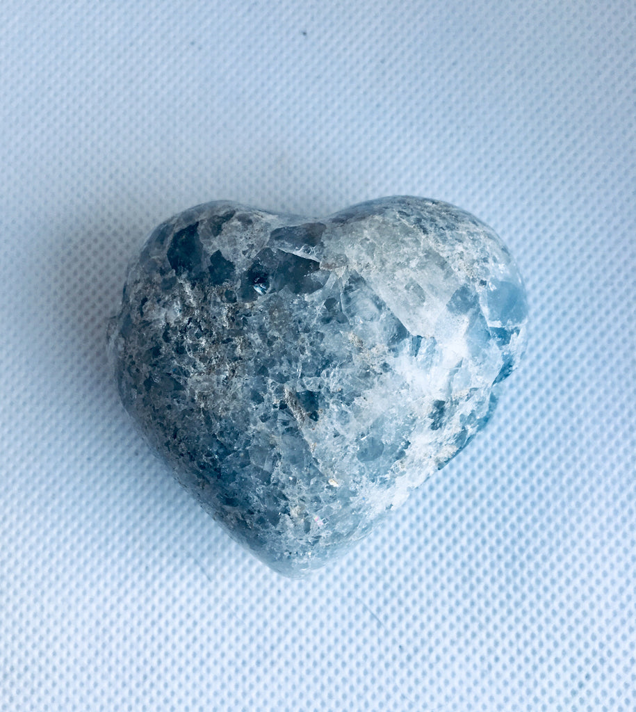 Celestite Healing Crystal, High Vibration Heart-Shaped Raw Stone
