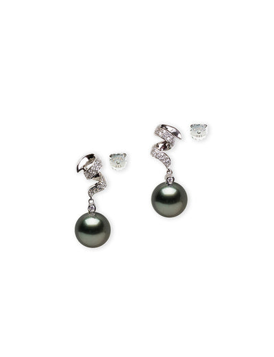 Anniversary Surprise Black Tahitian South Sea Pearl Earrings