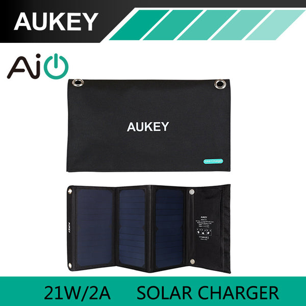 Foldable 21W AUKEY Solar Charger with Dual USB Port