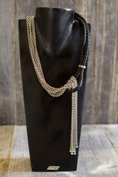Silver Chains & Leather Necklace