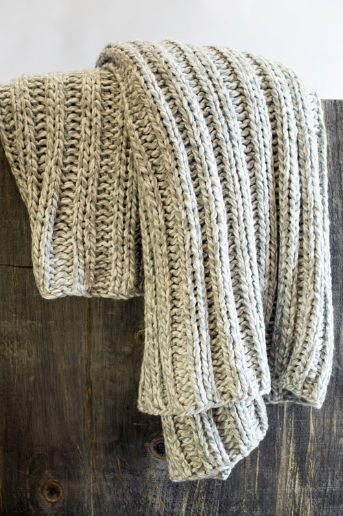 Gray & White Knit Throw