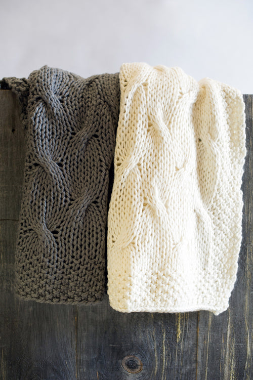 Gray & Cream Textured Knit Throw