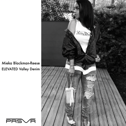 Mieka Blackman Reese wearing PRSVR Valley Denim