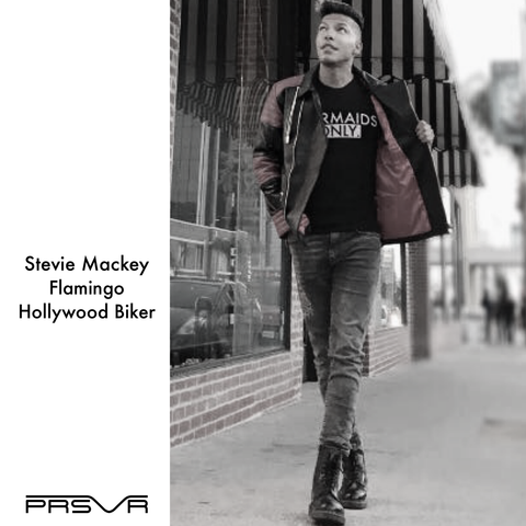 Stevie Mackey wearing the PRSVR Hollywood Biker Jacket