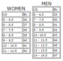 women mens us to European shoe size converter