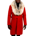 Cashmere Wool Blend Trench w/Fur Collar (RED)