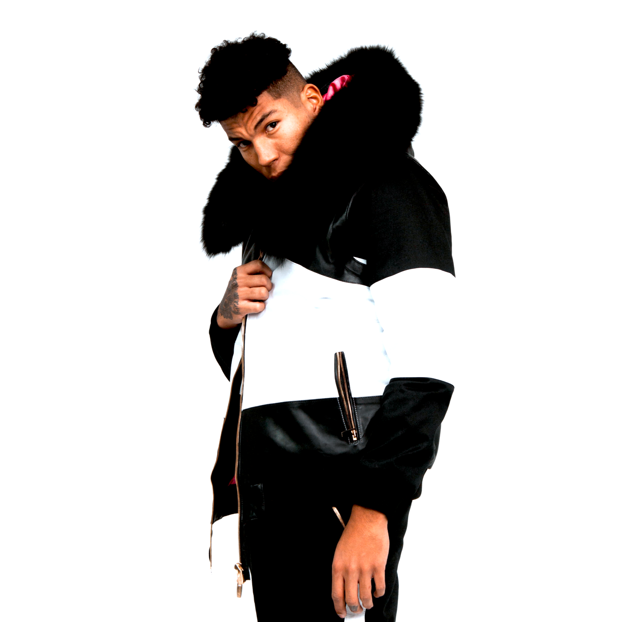 Esko Winter Coat: Black/White