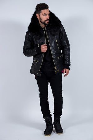 Down Winter Coat with Fox Fur Collar