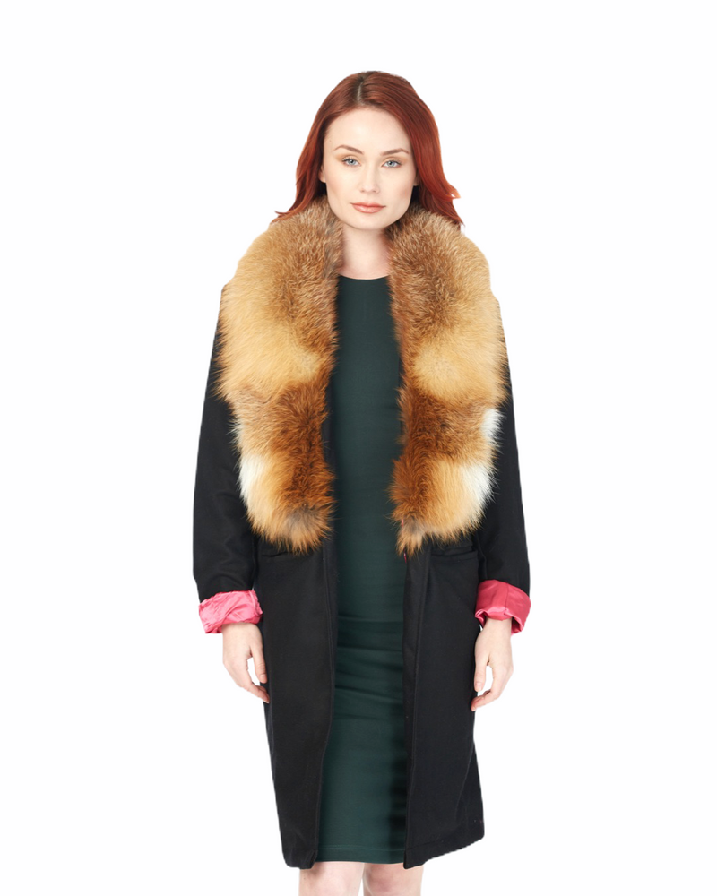 Cashmere Wool Blend Trench w/Fur Collar (BLK)