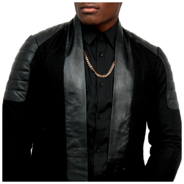 Load image into Gallery viewer, Black Cashmere Wool Streetcar Coat w/ Leather Details