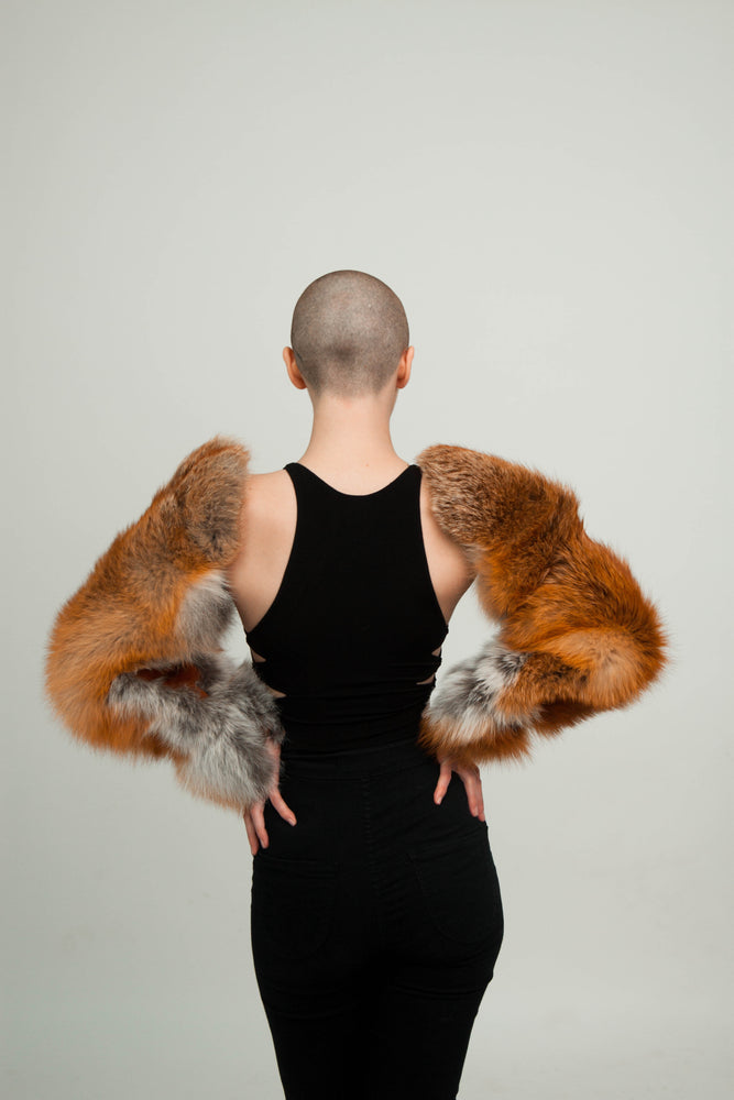 Load image into Gallery viewer, Double Fur Sleeves (Black Fox)