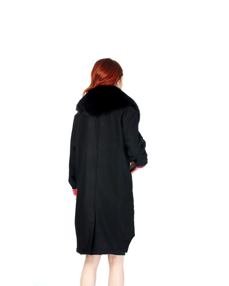 Black Boomerang Wool Overcoat (Hers)