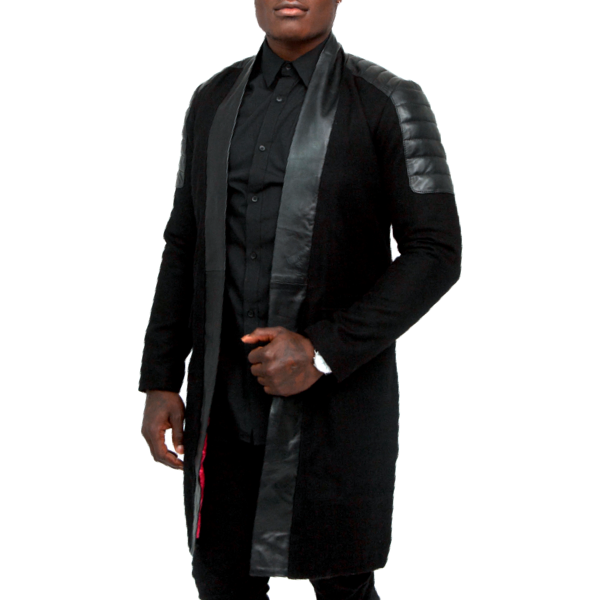Black Cashmere Wool Streetcar Coat w/ Leather Details