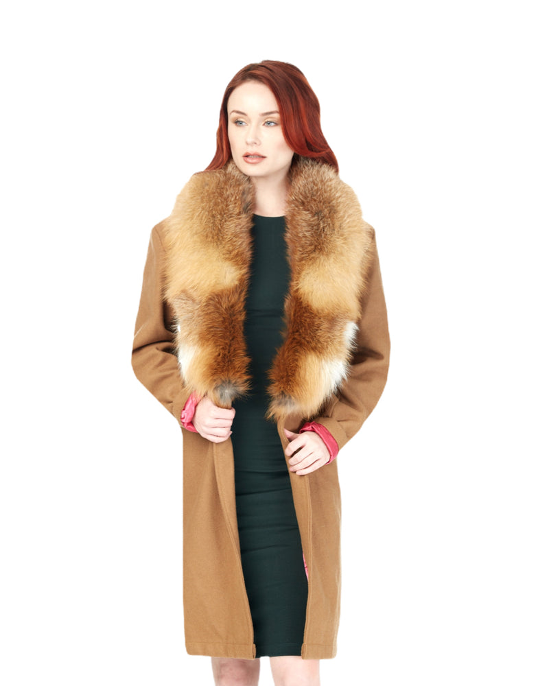 Cashmere Wool Blend Trench w/Fur Collar (TAN)