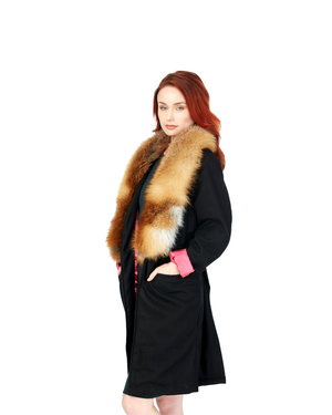 Load image into Gallery viewer, Black Boomerang Wool Overcoat (Hers)