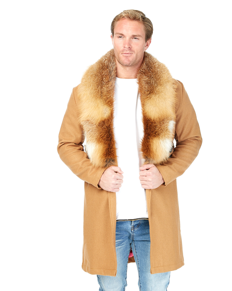 Load image into Gallery viewer, Tan Boomerang Wool Overcoat (His)