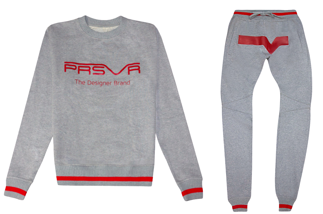 Valley Jogging Set (gray/red)