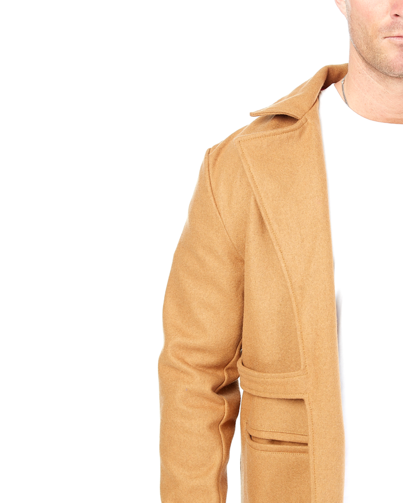 Load image into Gallery viewer, Tan Boomerang Wool Overcoat (Hers)