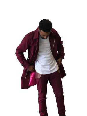 The Cranberry Twill Trench