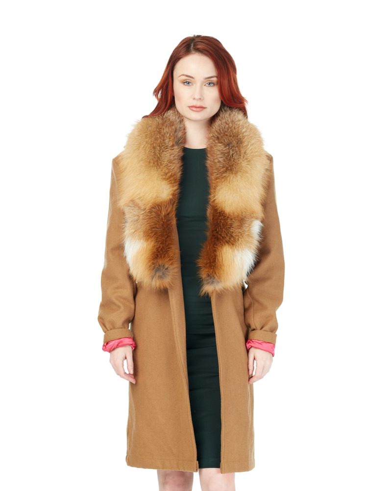 Tan Boomerang Wool Overcoat (Hers)