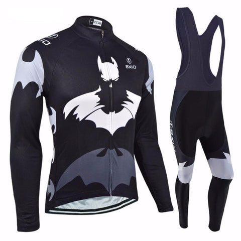 Winter Thermal Fleece Cycling Sets Bat Printing