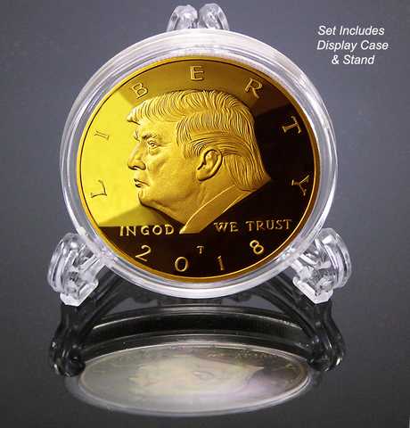 2018 Donald Trump 45th President, Collectors Edition 24kt Gold Plated Commemorative Replica Novelty Coin, Each Coin Comes With Stand & Display Case  (NOT LEGAL TENDER)