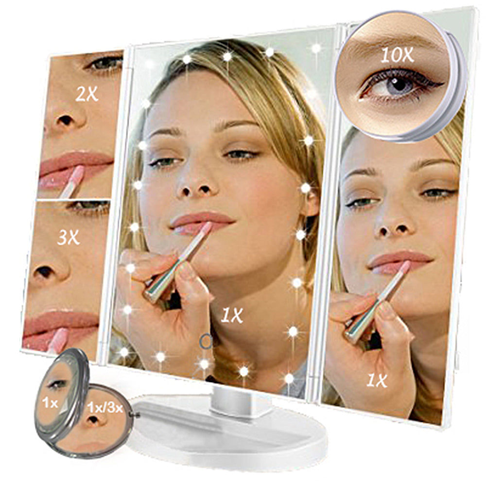 Trifold Vanity Mirror 22 Led Countertop Or Portable Travel