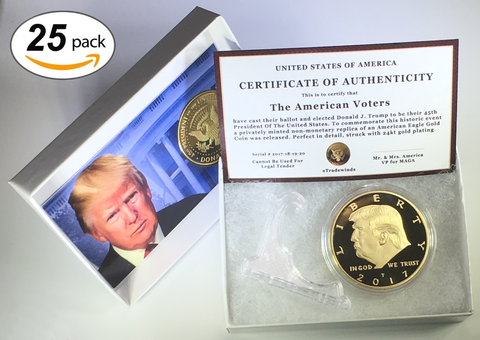 Image of 2017 Donald Trump Replica Gold Piece, 45th Presidential Edition 24kt Gold Plated Coin, Each Coin Comes With Gift Box, Certificate Of Authenticity, Display Case & Stand.