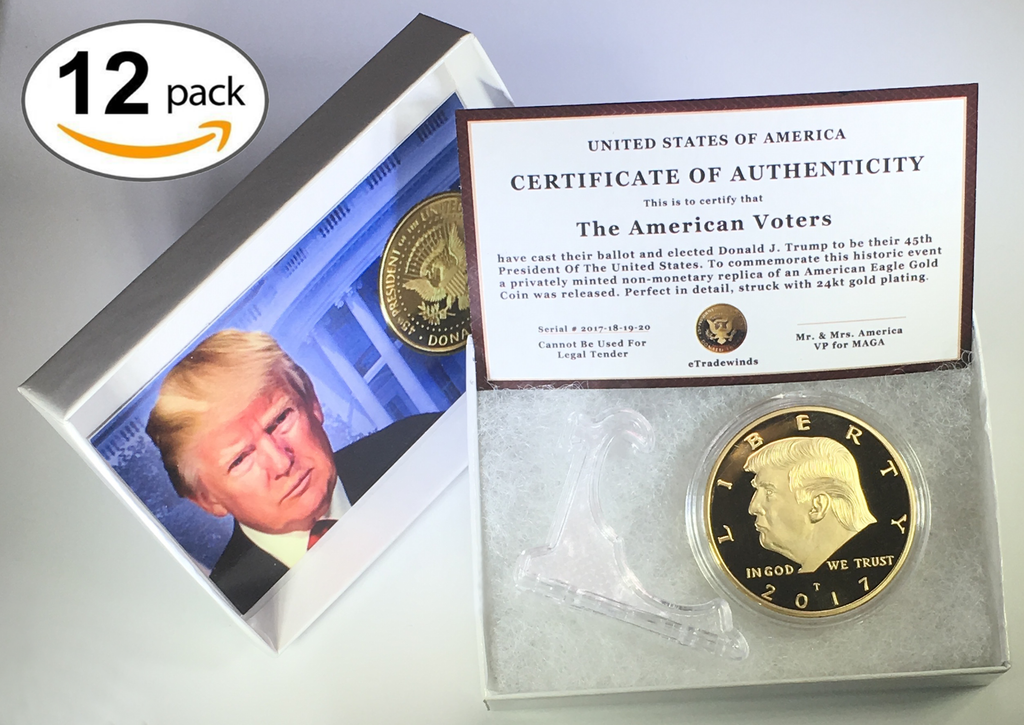 2017 Donald Trump Replica Gold Piece, 45th Presidential Edition 24kt Gold Plated Coin, Each Coin Comes With Gift Box, Certificate Of Authenticity, Display Case & Stand.