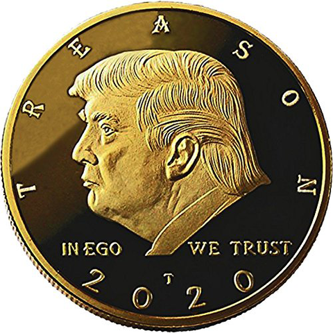 Image of Not My President - Donald Trump Treason & Impeachment, 24kt Gold Plated Coin Says it All - Perfect Anti Trump Novelty for The Trump Hater in Your Life - Gift Box, Stand, Certificate of Authenticity