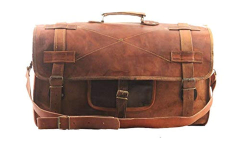 "20"" Mens Retro Style Carry on Luggage Flap Duffel Leather Duffel Bag"