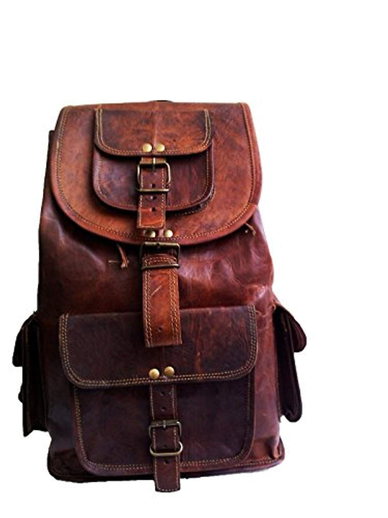 "18"" Leather Backpack Travel rucksack knapsack daypack College Bag for men women"