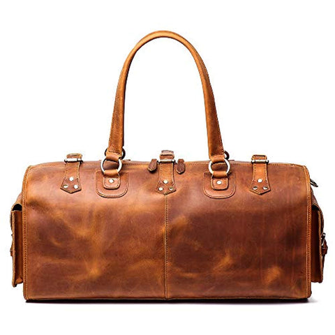 "Image of Leather Weekend Bag Mens Leather Travel Bag, 22"" Full Grain Duffel Carry on Luggage (Brown)"